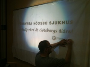 Bild: Banderollmålning för att behålla geriatriken på Högsbo sjukhus