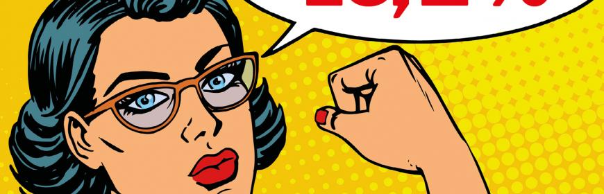 """På bilden syns en tecknad kvinna med svart hår, glasögon och en grå skojrta med uppkavlade ärmar, mot gul bakgrund. Kvinnan har blicken fäst på åskådaren med höger näve lyft samtidigt som hon med vänster hand kvalar upp den högra skjortärmen. I en pratbubbla uppe till höger syns texten """"16,2 procent"""". I nedre högra hörnet syns Vänsterpartiets logga och i nedre vänstra hörnet står det """"Vänsterpartiet Göteborg goteborg.vansterpartiet.se"""""""