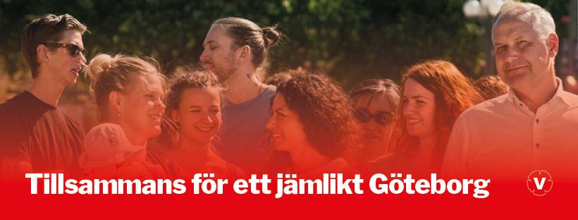 En grupp människor. Jonas Sjöstedt är med. En vit text i underkant lyder: Tillsammans för ett jämlikt Göteborg.