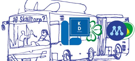 Buss 18 tillsammans med loggor för L, KD, C, M och MP (partierna som styr regionen)