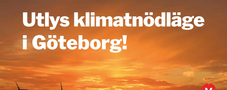 Orange himmel med vindkraftverk i neder högre hörnet. Text över bild: Utlys klimatnödläge i Göteborg!