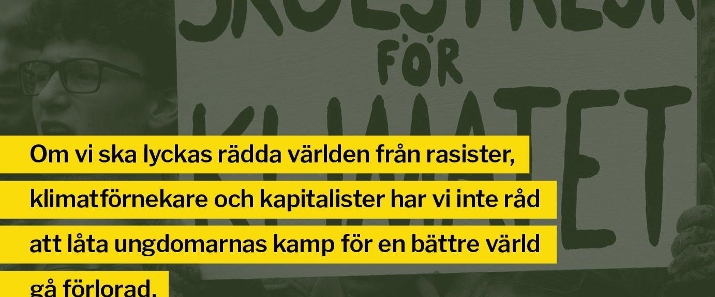 bild från Skolstrejk för klimatet. Greta Thunberg håller en skylt.