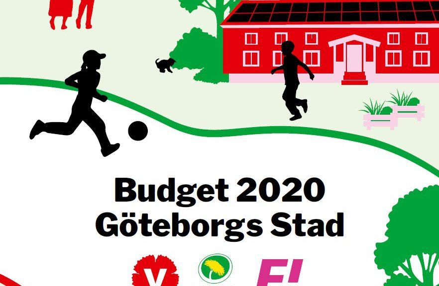 Framsidan av budgeten: grafik av två barn spelar fotboll utanför skola.