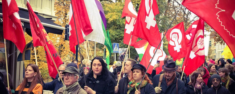 Demonstration mot Turkiets invasion av Rojava