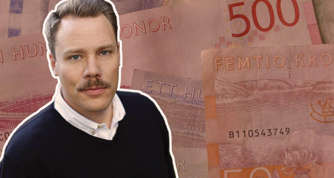 Daniel Bernmar inklippt över bild med sedlar