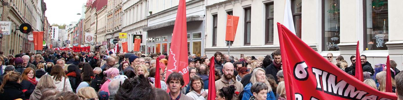 Bild på massor av människor på andra lång under 1 maj