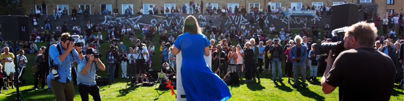 Nooshi Dadgostar håller sommartal i Göteborg